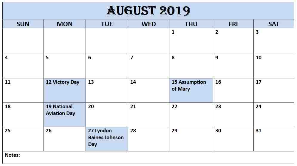 USA Holidays Calendar Template August 2019