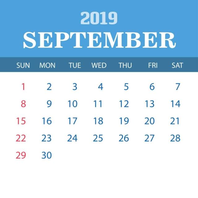2019 Calendar Template September