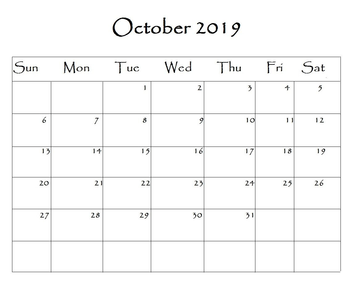 2019 October Calendar Template