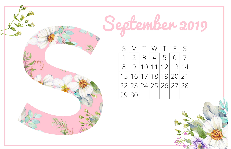 2019 September Calendar Cute