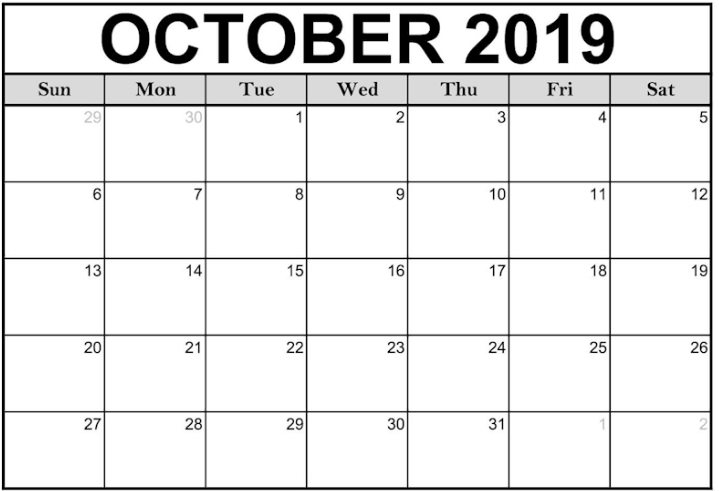Awesome October 2019 Blank Fillable Calendar