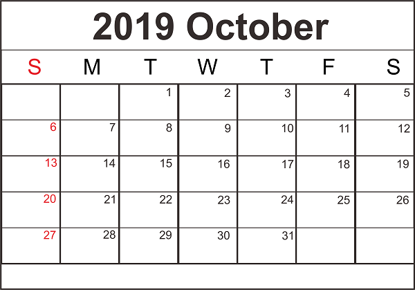 Blank Calendar October 2019