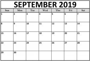 Blank Calendar September 2019