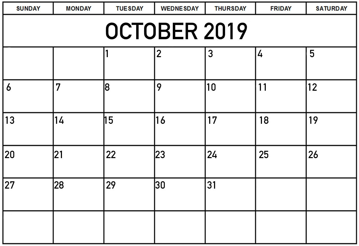 Blank Monthly Calendar October 2019