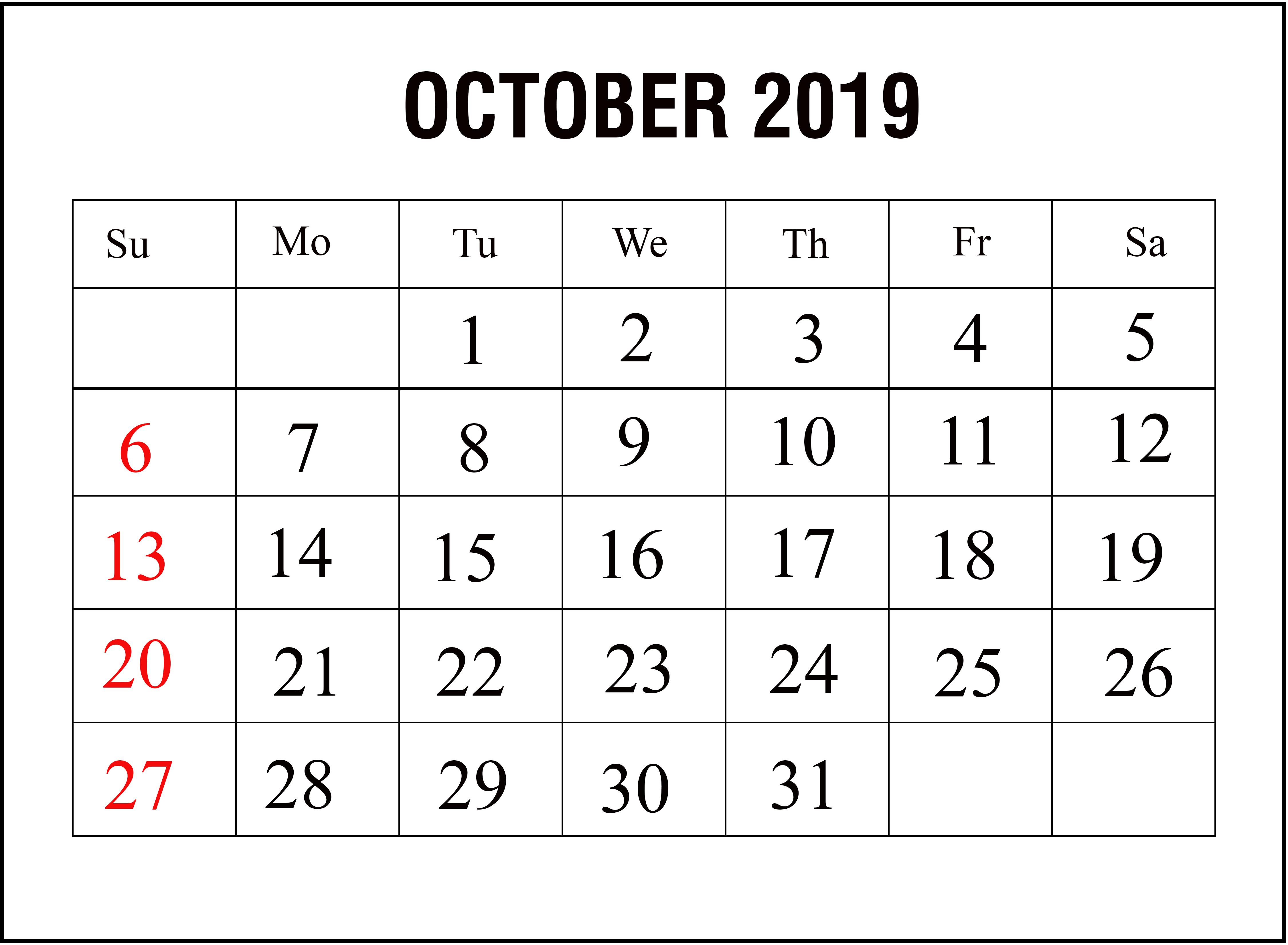 Blank October Calendar 2019 Printable