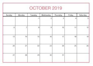 Calendar Template October 2019