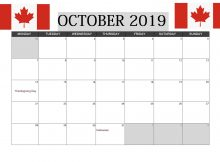 Canada October 2019 Calendar With Holidays