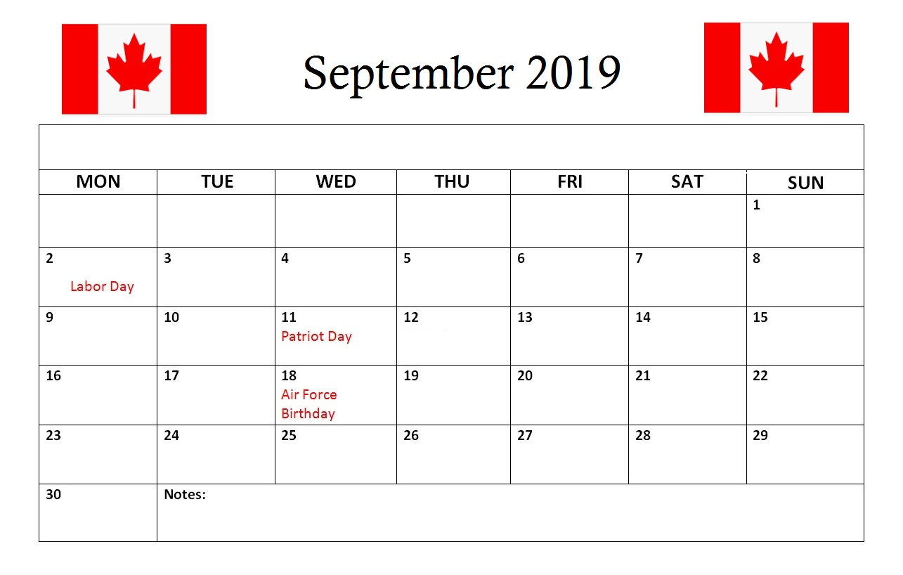 Canada September 2019 Calendar Holidays