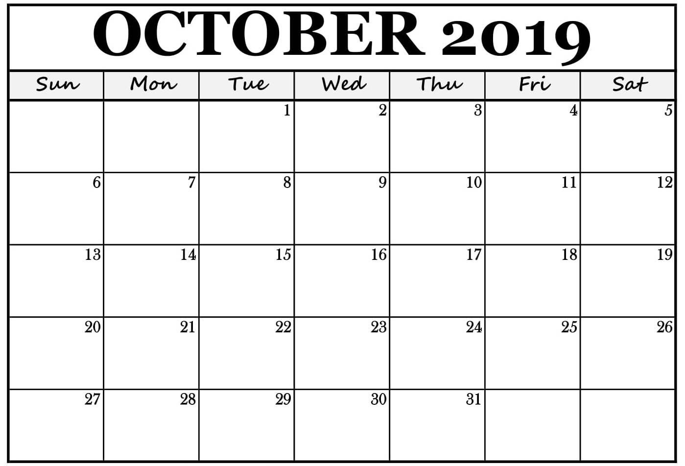 Customized October 2019 Planner Calendar