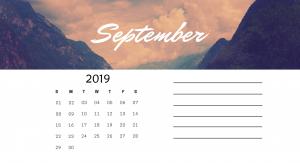 Cute September 2019 Calendar Printable