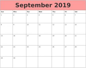 Cute September 2019 Calendar Template