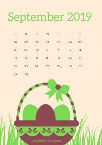 Cute September 2019 Calendar Wallpaper