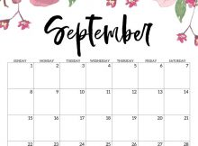 Cute September 2019 Floral Calendar Design
