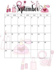 Cute September 2019 Wall Calendar