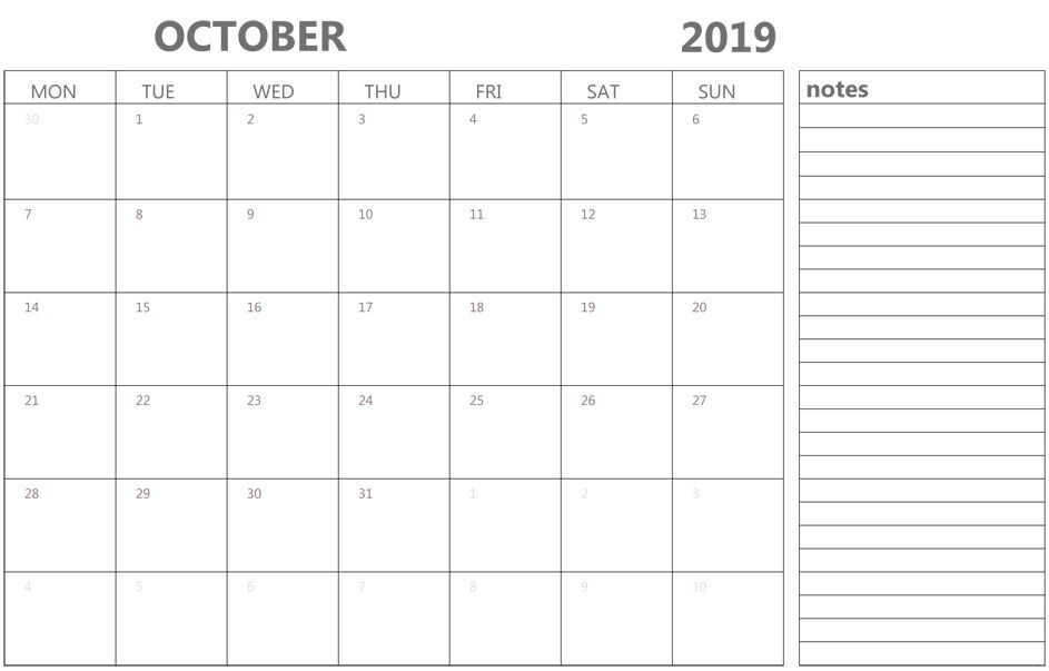 Editable October 2019 Calendar with Notes
