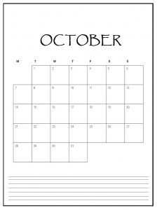 Editable October 2019 Monthly Planner