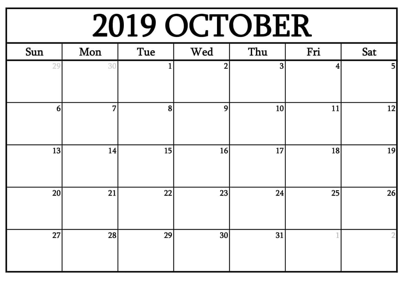 Fillable October 2019 Calendar