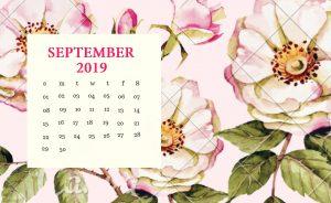 Floral September 2019 Calendar Wallpaper