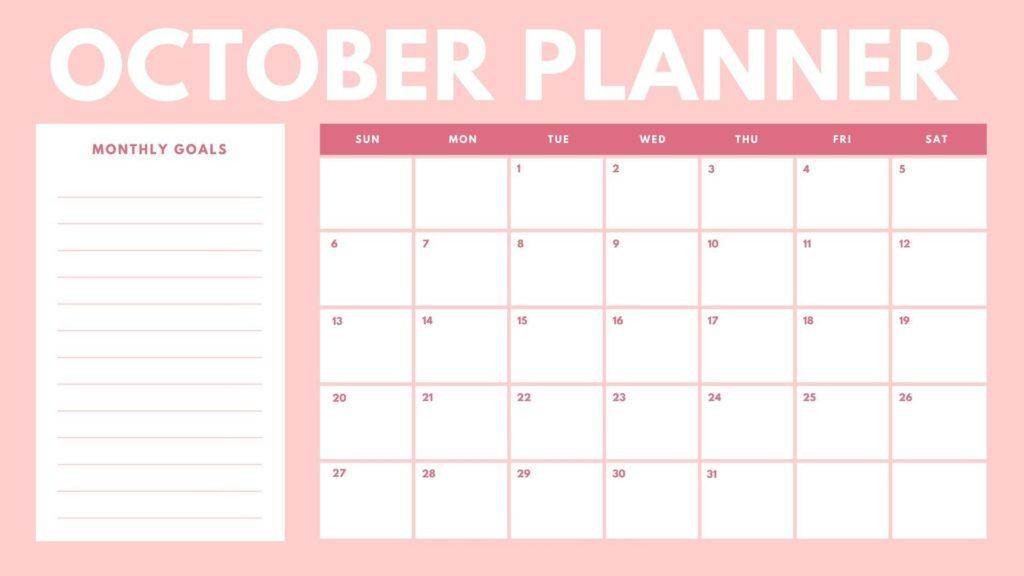 Free Calendar Template October 2019