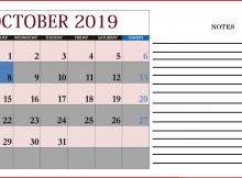 Free October 2019 Calendar Editable