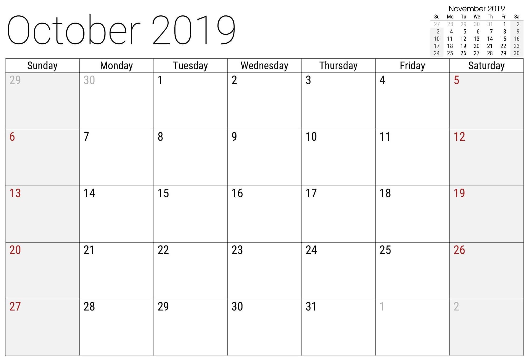 Free Printable October 2019 Calendar Editable