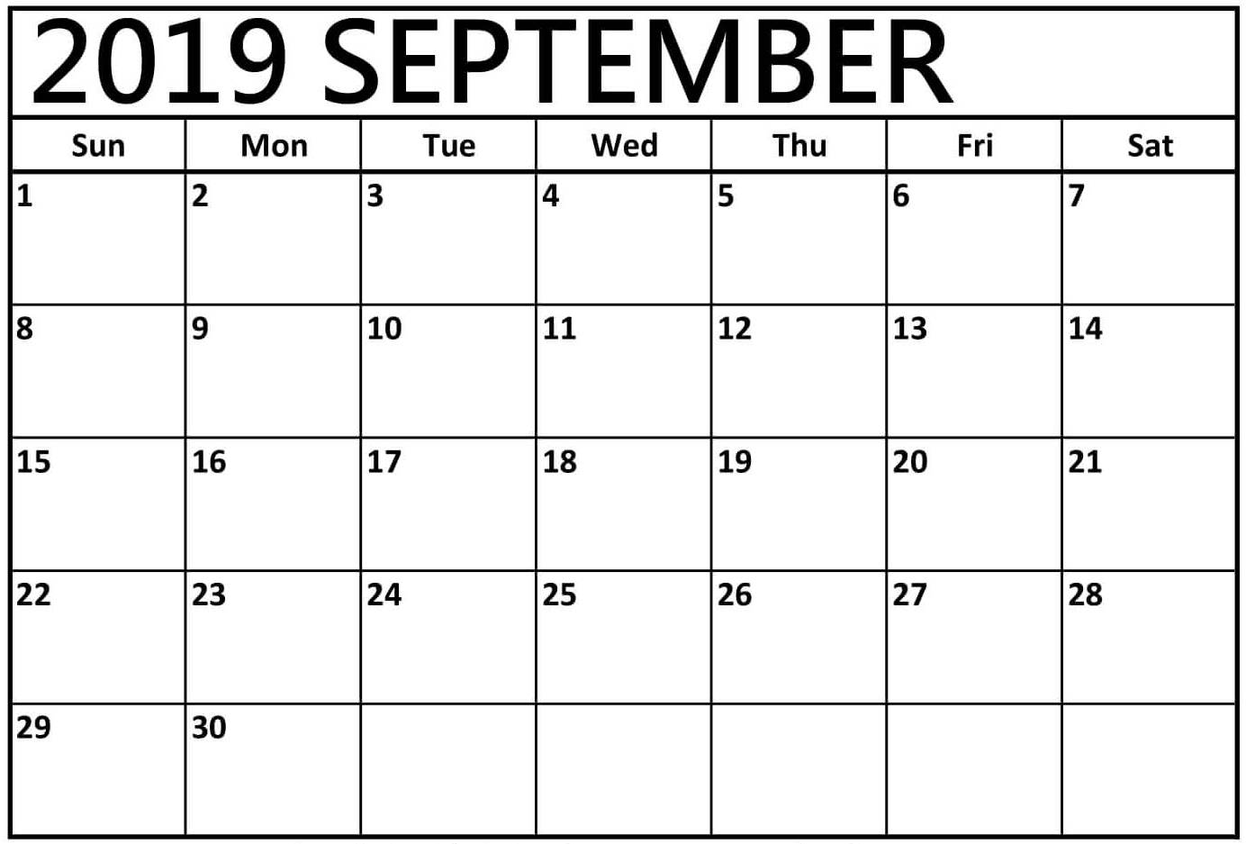 graphic relating to Printable September Calendar named Cost-free Printable September 2019 Calendar Template Blank With Notes