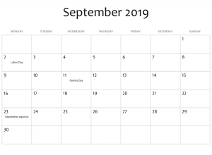 Holidays Calendar September 2019