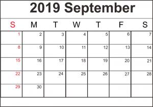 Monthly Calendar Template September 2019