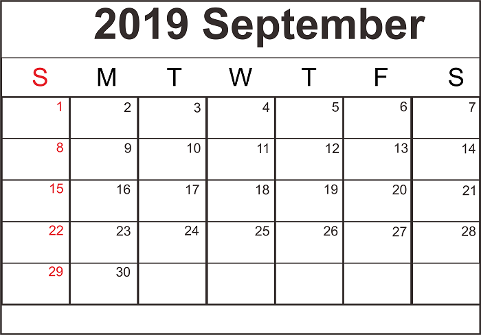 Monthly Calendar Template September 2019
