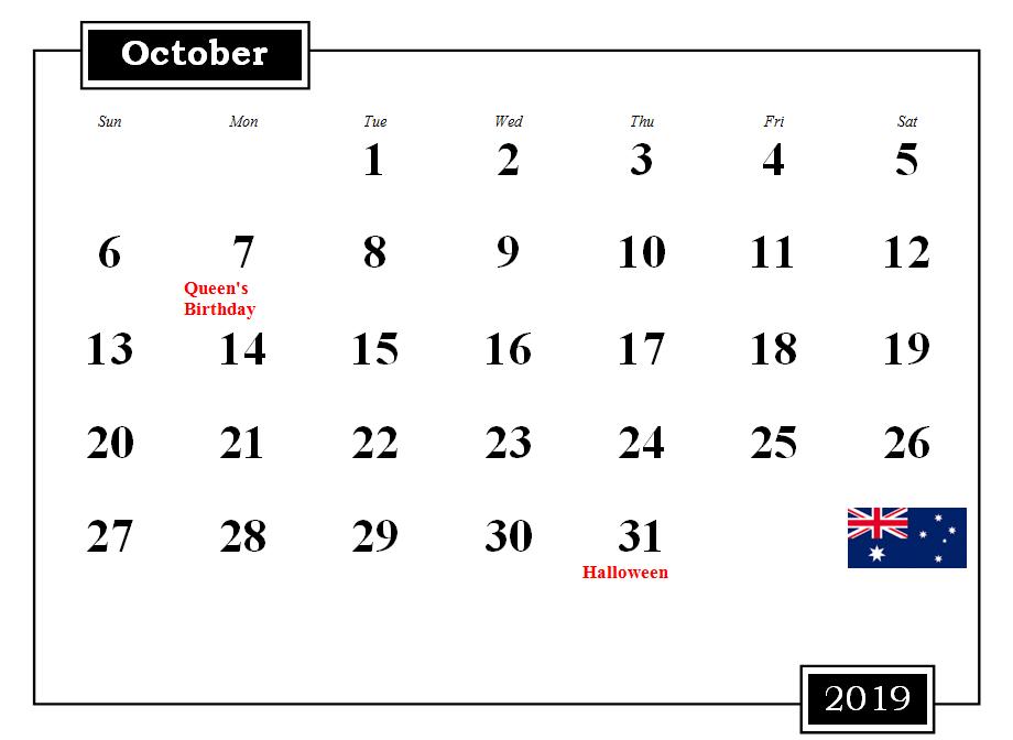 Printable October 2019 Holidays Calendar Template
