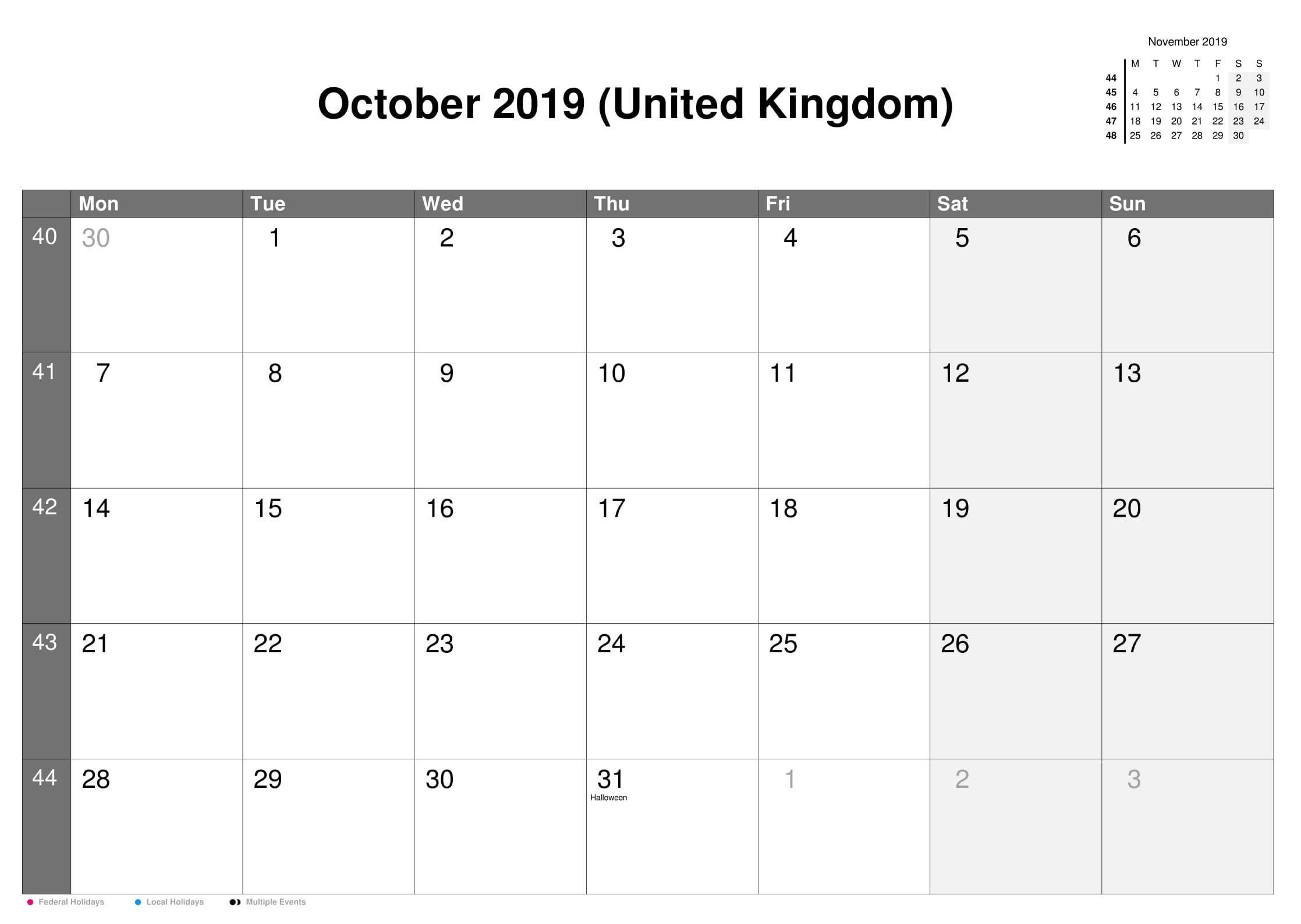 October 2019 Calendar With UK Holidays