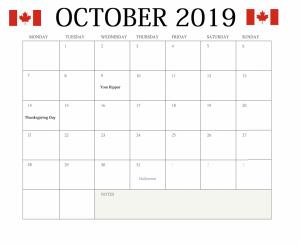 October 2019 Canada Holidays Calendar