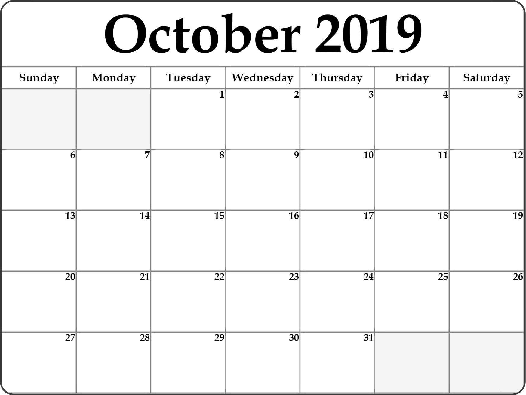 October 2019 Printable Calendar Blank