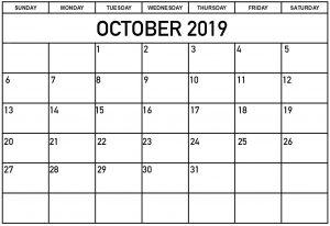 Personalized October 2019 Calendar