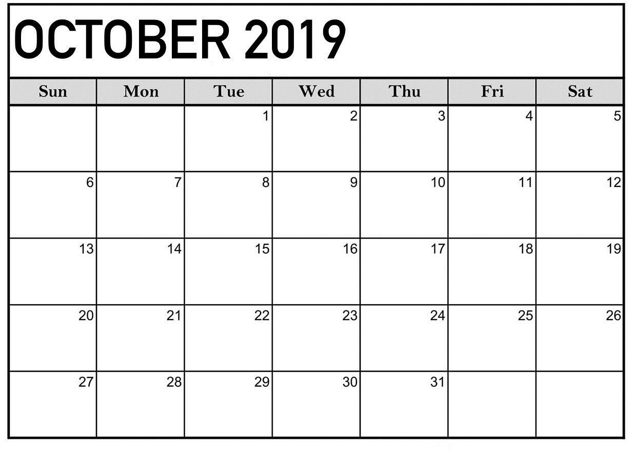 Personalized October 2019 Calendar Templates With Lines