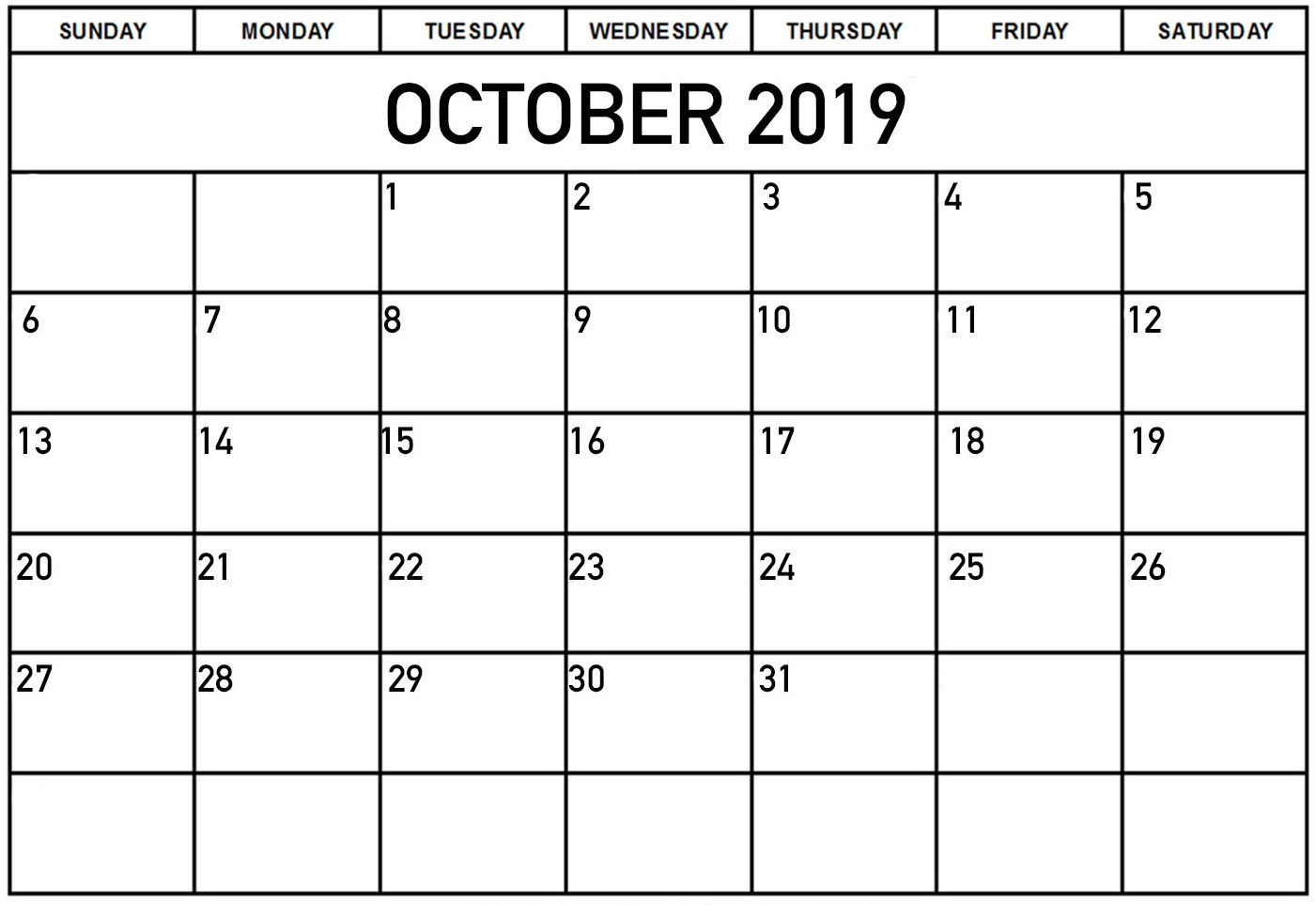 Personalized October 2019 Calendar