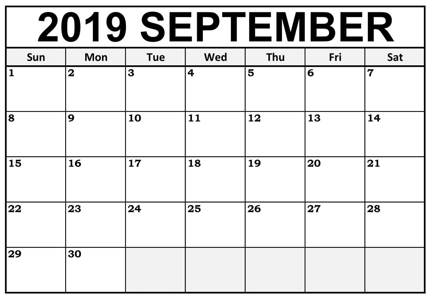 Printable Calendar Template September 2019