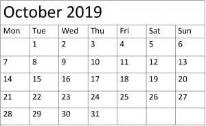 Printable October 2019 Calendar Editable Pages