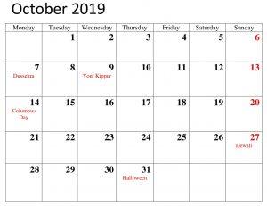 Printable October 2019 Calendar With Holidays