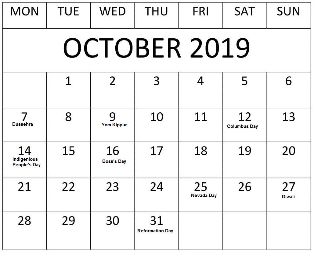 photograph about Printable Oct. Calendar called Oct 2019 Calendar With Holiday seasons US, British isles, Canada