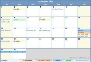 Printable September 2019 Holidays Calendar