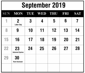 Sep 2019 Holidays Calendar Template