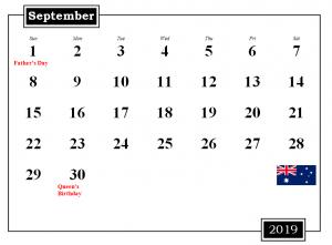 September 2019 Australia Holidays Calendar