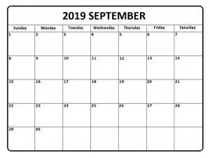 September 2019 Calendar Template