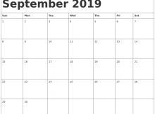 September 2019 Calendar Template Excel