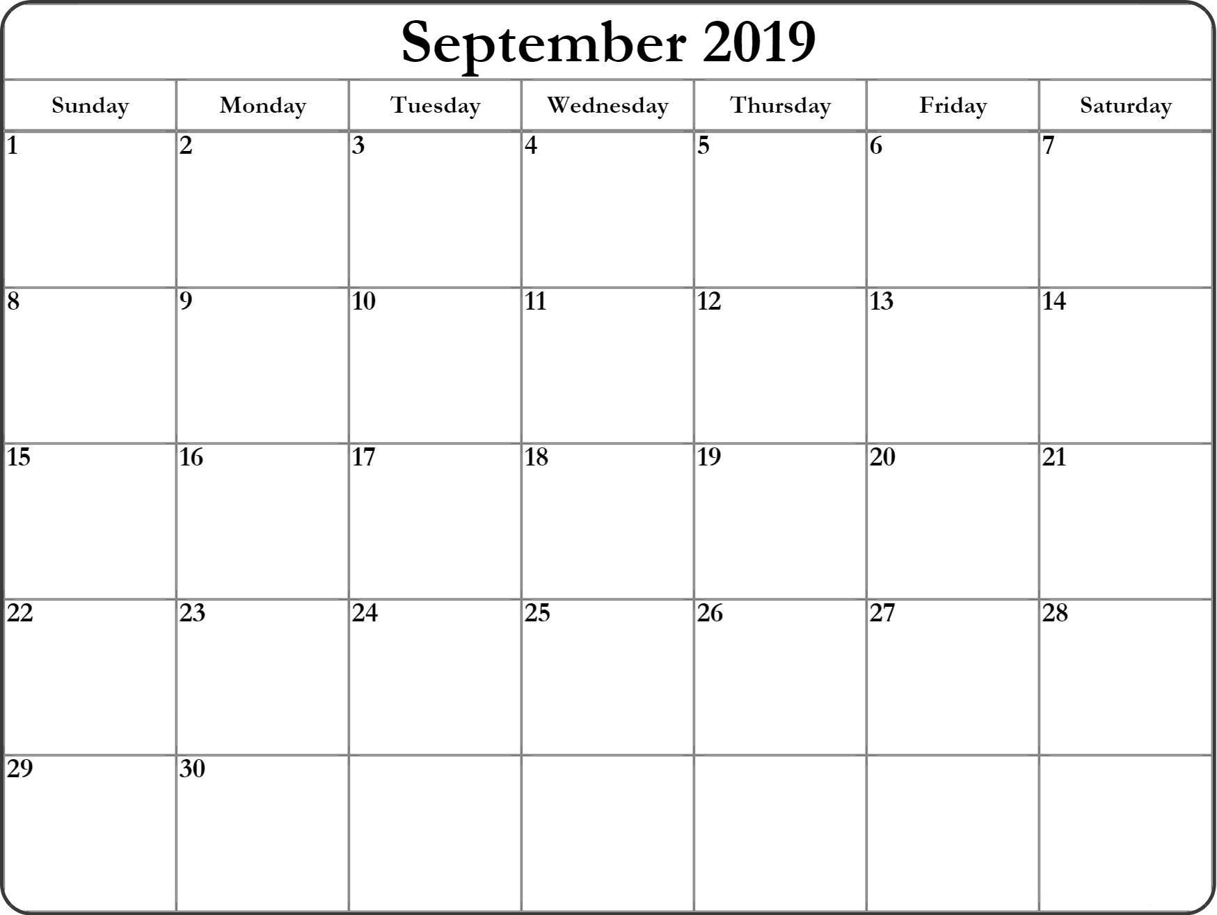 September 2019 Calendar Template PDF