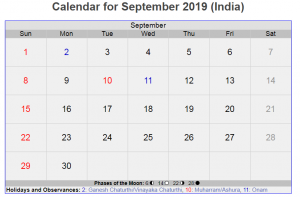 September 2019 Calendar with Holidays India