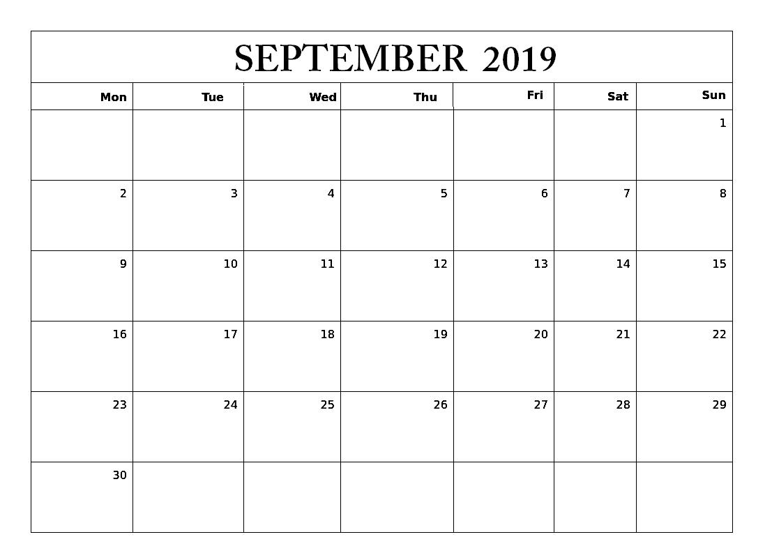 September 2019 Editable Calendar Template