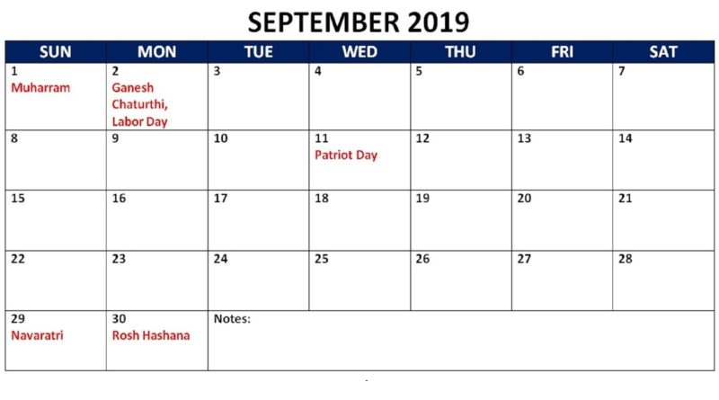 September 2019 Holidays Calendar