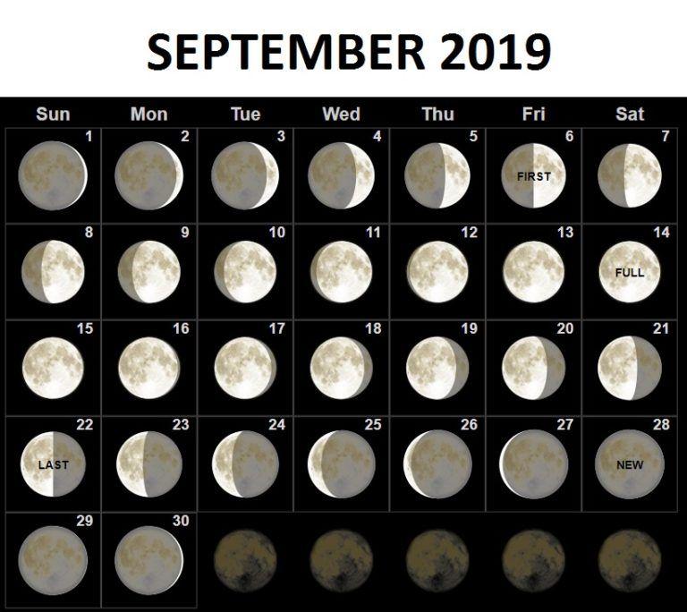 September 2019 Moon Phases Calendar